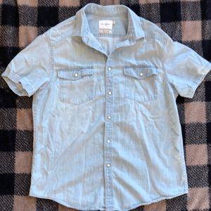 Men's Denim Short Sleeve Button Up